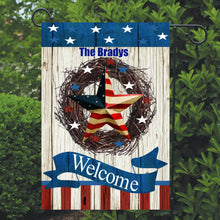 Load image into Gallery viewer, Patriotic Garden Flag Personalized, Welcome USA Garden Flag, Red White and Blue Flag, Holiday Yard Flag, American Flag Decor