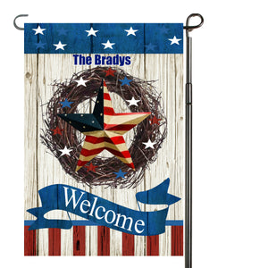 Patriotic Garden Flag Personalized, Welcome USA Garden Flag, Red White and Blue Flag, Holiday Yard Flag, American Flag Decor