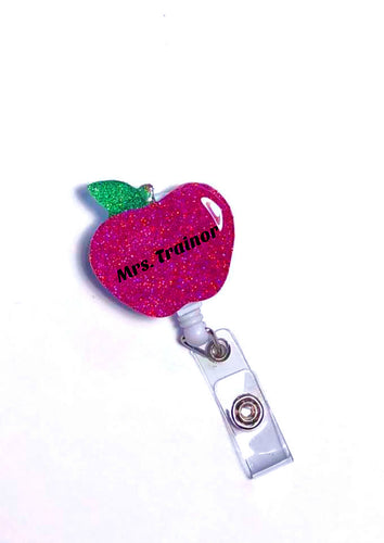 Teacher Badge Holder Personalized, Retractable Teacher ID Badge Reel, Glitter Apple Badge Holder for Teacher, name badge holder, badge clip