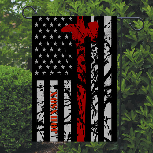 Firefighter Thin Red Line Garden Flag, Personalized, Garden Flag, Name Garden Flag, Firefighter Decor, Yard Decoration, Gift for Man