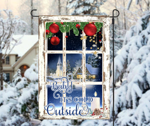 Baby It's Cold Outside Christmas Garden Flag, Frosty Winter Window Christmas Flag, Garden Flag, Christmas Garden Flag, Christmas Yard Decor