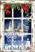 Load image into Gallery viewer, Baby It's Cold Outside Christmas Garden Flag, Frosty Winter Window Christmas Flag, Garden Flag, Christmas Garden Flag, Christmas Yard Decor