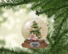 Load image into Gallery viewer, Baby's First Christmas Snow Globe Ornament, Christmas, Personalized, Name Ornament, Custom Christmas, Baby's First Christmas, Kids Ornament