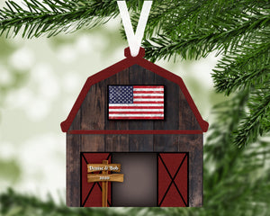 Barn Flag Personalized Ornament, Farm Ornament, Ranch Ornament, Barn American Flag Ornament, Family Gift, Holiday Decoration, Tree Decor