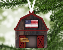 Load image into Gallery viewer, Barn Flag Personalized Ornament, Farm Ornament, Ranch Ornament, Barn American Flag Ornament, Family Gift, Holiday Decoration, Tree Decor