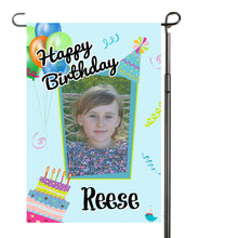 Load image into Gallery viewer, Personalized Happy Birthday Garden Flag, Birthday Cake Flag, Party Flag, Birthday Sign, Garden Decor, Yard Decor, Balloon Birthday Flag
