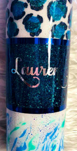 Leopard Glitter Tumbler Personalized - One of a Kind, Cheetah Tumbler, Cheetah, Gift for Mom, Insulated, Tumbler, Leopard Gift, 20 oz