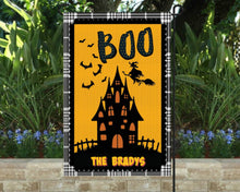 Load image into Gallery viewer, Boo Haunted House Garden Flag, Personalized, Halloween Decoration, Fall Garden Flag, Fall Decor, Fall Yard Decor, Custom Garden Flag, Name