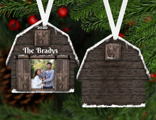 Load image into Gallery viewer, Barn Photo Christmas Ornament, Personalized Ornament, Custom Family Gift, Farm, Ranch, Name Ornament, Farm Gift, Ranch, Picture Gift