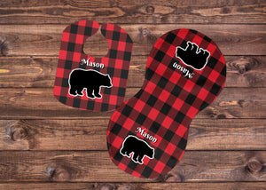Buffalo Plaid Bear Bib and Burp Cloth Set, Personalized, Red and Black, Newborn, Baby, Baby Shower Gift, Baby Gift, Bear Gift, Buffalo Plaid