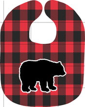 Load image into Gallery viewer, Buffalo Plaid Bear Bib and Burp Cloth Set, Personalized, Red and Black, Newborn, Baby, Baby Shower Gift, Baby Gift, Bear Gift, Buffalo Plaid