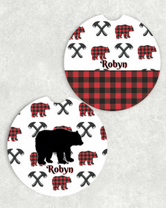 Buffalo Plaid Bear Car Coasters, Set of 2, Ceramic, Rustic Car Coasters, Sandstone Car Coaster, Car Coasters, Vehicle, New Car, Car Gift
