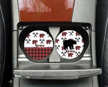 Load image into Gallery viewer, Buffalo Plaid Bear Car Coasters, Set of 2, Ceramic, Rustic Car Coasters, Sandstone Car Coaster, Car Coasters, Vehicle, New Car, Car Gift