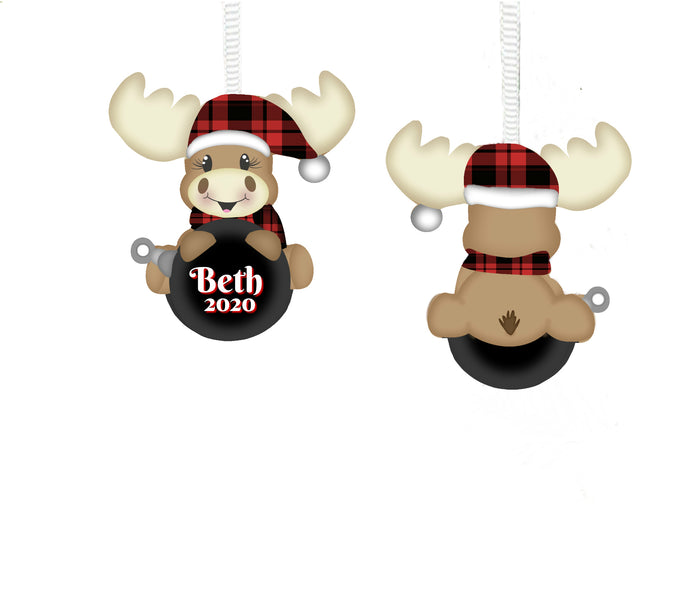 Buffalo Plaid Moose Christmas Ornament, Personalized, Moose Gift, Moose Ornament, Name Ornament, Ornament for Kids, Moose, Holiday Ornament