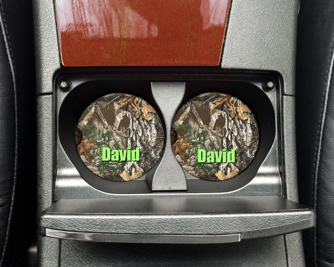 Camo Ceramic Car Coasters, Personalized, Set of 2, Camouflage Coaster, Car Coasters for Men, Hunting Coaster, Gift for Hunter, Outdoorsman