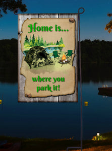 Camping Garden Flag, Personalized, Camo Tent Garden Flag, Name Garden Flag, Camping Decor, Camping Flag, Yard Decor, Camoflage, Camo Gift