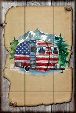 Load image into Gallery viewer, Patriotic Camper Garden Flag, Camping Garden Flag, Personalized, Name Garden Flag, Camper Decor, Camping Flag, Camper Decor, Gift for Camper