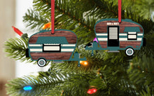 Load image into Gallery viewer, Camper Christmas Ornament, Personalized, Teal and Wood Camper Ornament, Name Ornament, Retro Camper Ornament, Ornament, Camping Gift