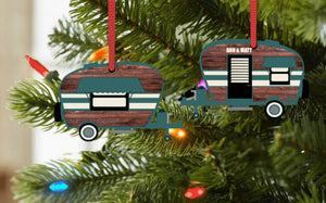Camper Christmas Ornament, Personalized, Teal and Wood Camper Ornament, Name Ornament, Retro Camper Ornament, Ornament, Camping Gift
