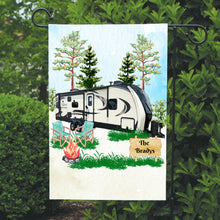Load image into Gallery viewer, Camping Garden Flag, Personalized, Garden Flag, Name Garden Flag, Camper Decor, Camping Flag, Yard Decor, Yard Decoration, Camper Decor