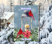 Load image into Gallery viewer, Cardinal Candle Garden Flag, Personalized Garden Flag, Cardinals, Christmas Garden Flag, Family Gift, Custom Garden Flag, Christmas Decor
