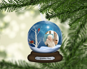 Memorial Cardinal Snow Globe Ornament, In Memory Christmas Ornament, Remembrance Gift, Loss of Loved One, Memorial Gift, Printed Both Sides