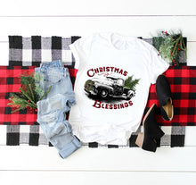 Load image into Gallery viewer, Christmas Blessings Truck Sublimation Transfer, Printed Sub Transfer, Sublimation Design Transfer, Ready to Use, Ready to Press, Adult Shirt