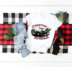 Christmas Blessings Truck Sublimation Transfer, Printed Sub Transfer, Sublimation Design Transfer, Ready to Use, Ready to Press, Adult Shirt