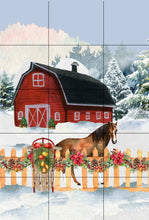 Load image into Gallery viewer, Christmas Horse Barn Garden Flag, Barn Christmas Flag, Horse Gift, Personalized Garden Flag, Christmas Garden Flag, Custom Garden Flag
