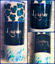 Load image into Gallery viewer, Leopard Glitter Tumbler Personalized - One of a Kind, Cheetah Tumbler, Cheetah, Gift for Mom, Insulated, Tumbler, Leopard Gift, 20 oz