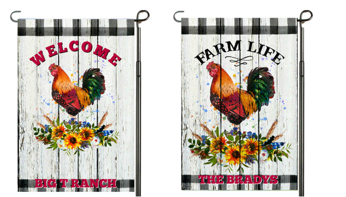 Chicken Garden Flag, Personalized, Garden Flag, Name Garden Flag, Welcome Chicken Flag, Farm Life, Farm Yard Flag, Yard Decoration, Ranch