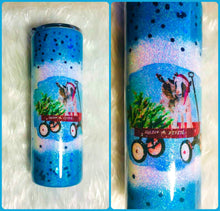 Load image into Gallery viewer, Christmas Goats in Wagon Holographic Glitter Tumbler Cup Double Wall Stainless Steel