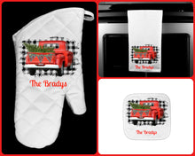 Load image into Gallery viewer, Red Christmas Truck Joy Oven Mitt Pot Holder Towel