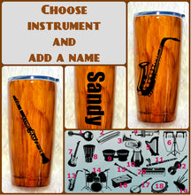 Load image into Gallery viewer, Musical Instrument Wood Grain Tumbler, Personalized, Musician Gift, Gift, Gift for Man, Saxophone, Trumpet, Father's Day, Insulated, 20 oz