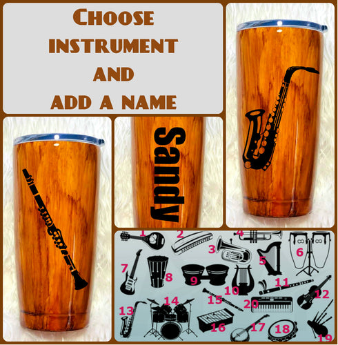 Musical Instrument Wood Grain Tumbler, Personalized, Musician Gift, Gift, Gift for Man, Saxophone, Trumpet, Father's Day, Insulated, 20 oz