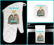 Load image into Gallery viewer, Christmas Nativity Oven Mitt Pot Holder Towel Gift Set Personalized, Gifts for Mom.Housewarming Gift.Hostess Gift.Wedding.Custom Kitchen Set