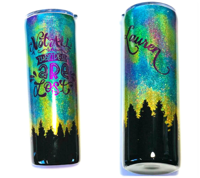Northern Lights Holographic Glitter Tumbler, 20 oz, Personalized, Not All Who Wander Are Lost, Add a Name, Outdoors, Alaska, Night Sky