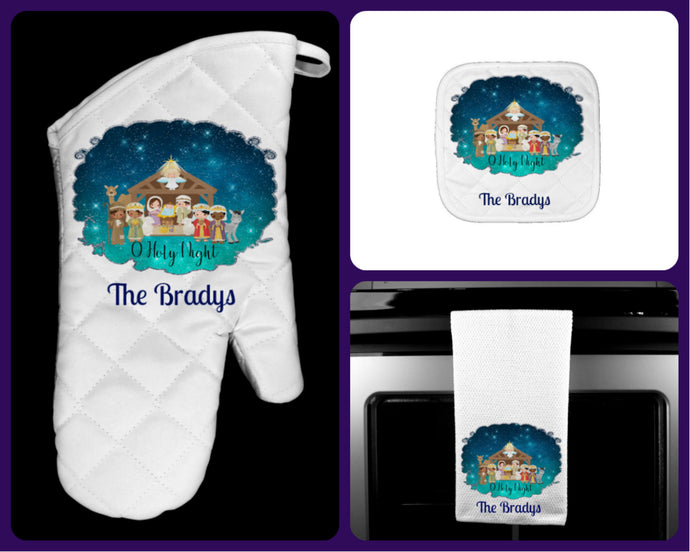 Nativity Manger Personalized Oven Mitt Pot Holder Towel Christmas Gift Set, O Holy Night, Housewarming Gift, Hostess Gift, Kitchen Set