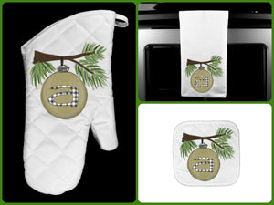 Ornament Initial Personalized Oven Mitt Pot Holder Towel Gift Set, Neutrals and Buffalo Plaid, Mom Gift, Hostess Gift, Custom Kitchen Set