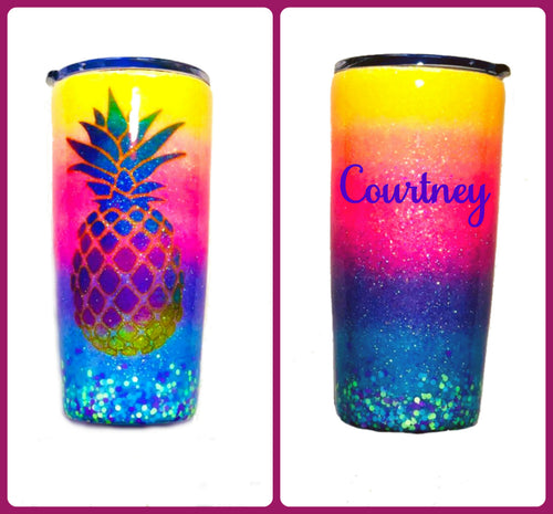 Pineapple Tropical Personalized Glitter Tumbler with Lid - Ombre - Neon Yellow, Neon Pink, Neon Purple, Neon Blue - Luau - Insulated - 20 oz