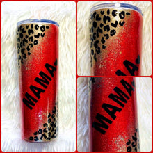 Load image into Gallery viewer, Red Cheetah Leopard Glitter Tumbler - Cheetah Tumbler, Cheetah, Gift for Mom, Mama Tumbler, Insulated, Leopard Gift, Travel Cup, 20 oz
