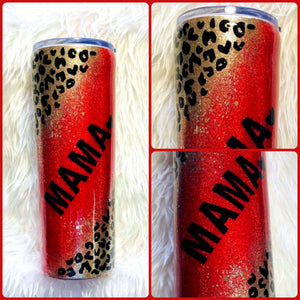 Red Cheetah Leopard Glitter Tumbler - Cheetah Tumbler, Cheetah, Gift for Mom, Mama Tumbler, Insulated, Leopard Gift, Travel Cup, 20 oz