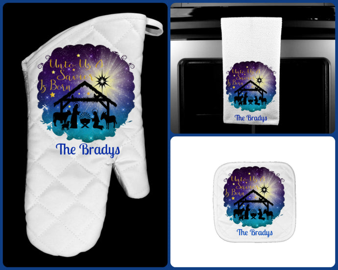 Christmas Nativity Oven Mitt Pot Holder Towel Gift Set Personalized, Gifts for Mom.Housewarming Gift.Hostess Gift.Wedding.Custom Kitchen Set