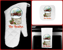 Load image into Gallery viewer, Christmas Truck Buffalo Plaid Snow Globe Oven Mitt Pot Holder Towel Gift Set, Personalized, Happy Holidays, Hostess Gift, Custom Kitchen Set