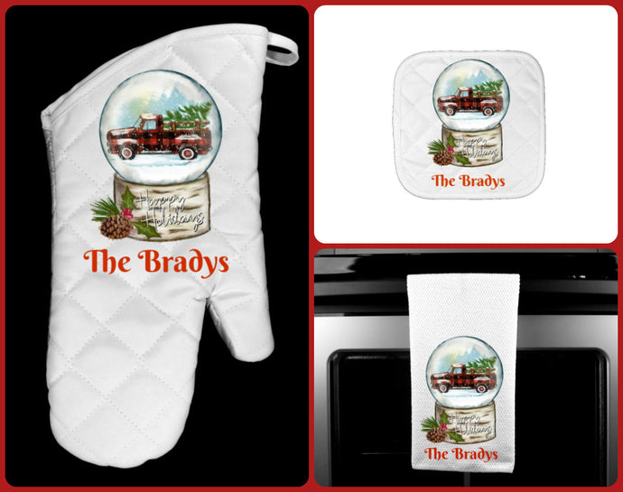 Christmas Truck Buffalo Plaid Snow Globe Oven Mitt Pot Holder Towel Gift Set, Personalized, Happy Holidays, Hostess Gift, Custom Kitchen Set