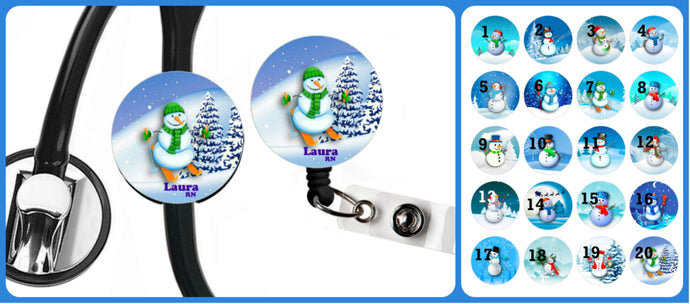 Stethoscope Badge Reel ID Tag Snowman Personalized, Winter Nurse Stethoscope Tag, Teacher Name Badge Reel, RN, CNA, Nursing Student Gift