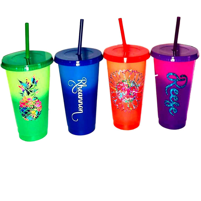 Custom Color Changing 24 oz. Tumblers, Thermal Tumbler with Name, Personalized Cup, Color Changing, Pool Cups, Summer Cup, Reusable Cup