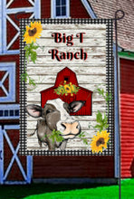 Load image into Gallery viewer, Cow Barn Garden Flag, Personalized, Garden Flag, Name Garden Flag, Cow Decor, Cow Flag, Farm Yard Flag, Yard Decor, Yard Decoration, Ranch