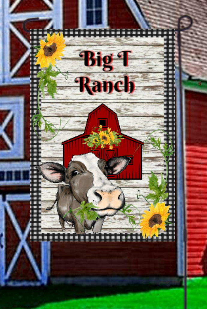 Cow Barn Garden Flag, Personalized, Garden Flag, Name Garden Flag, Cow Decor, Cow Flag, Farm Yard Flag, Yard Decor, Yard Decoration, Ranch