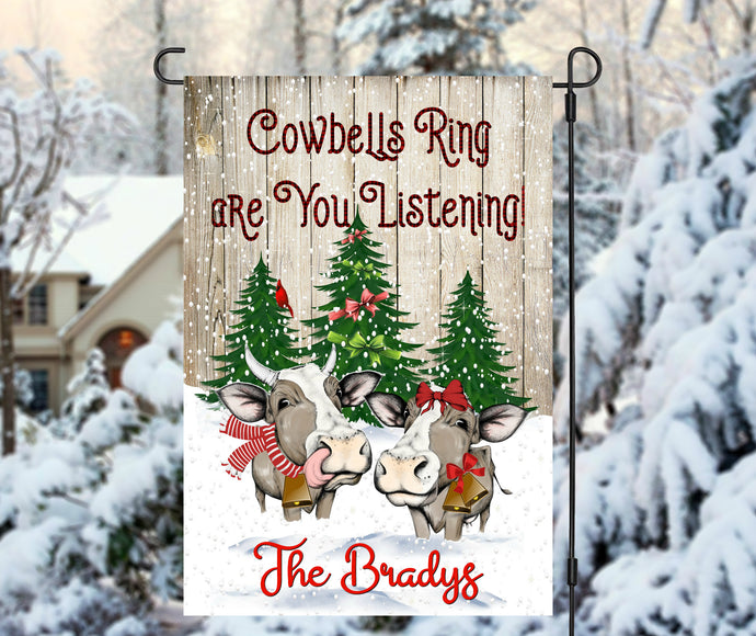 Christmas Cows Garden Flag, Cowbells Ring, Farmhouse Christmas Flag, Personalized Garden Flag, Christmas Garden Flag, Custom Garden Flag